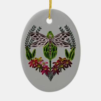 Libelle 1 ovales keramik ornament