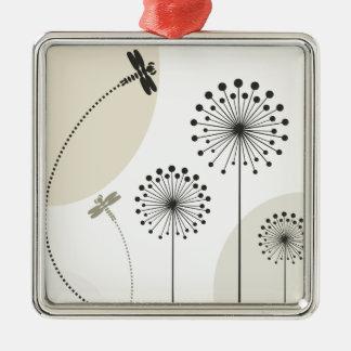 Libelle auf einer Blume Silbernes Ornament