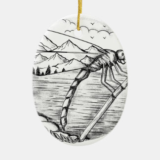 Libellen-Berg innerhalb der Flügel-Tätowierung Keramik Ornament