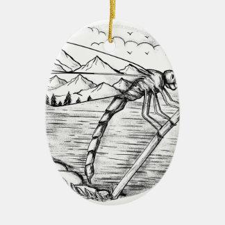 Libellen-Berg innerhalb der Flügel-Tätowierung Ovales Keramik Ornament