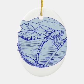 Libellen-Berge beim Flügel-Zeichnen Ovales Keramik Ornament