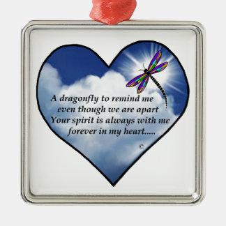 Libellen-Herz-Gedicht Quadratisches Silberfarbenes Ornament