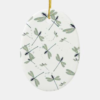 Libellen in der Sonne Ovales Keramik Ornament