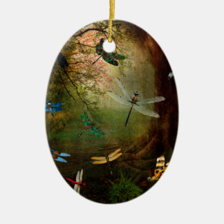Libellen-Spielplatz Ovales Keramik Ornament