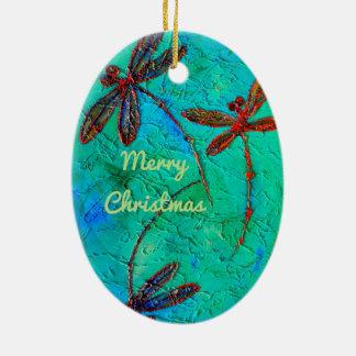 Libellen-Tanz Ovales Keramik Ornament