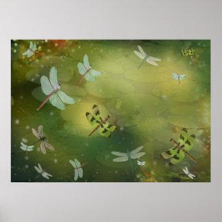 Libellen und Wasser-Lilienen-Grafik Poster