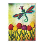 Libellule au-dessus des tulipes toile tendue sur châssis