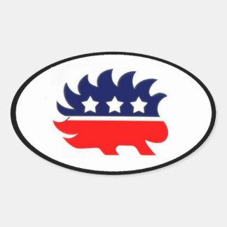 Liberalistisches Stachelschweinmaskottchenoval Ovaler Aufkleber