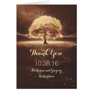 Licht-Baum-Hochzeit im Herbst danken Ihnen Karten