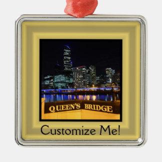 Lichter Melbournes Australien CBD über der Brücke Silbernes Ornament