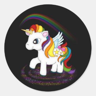 Licorne d'arc-en-ciel sticker rond