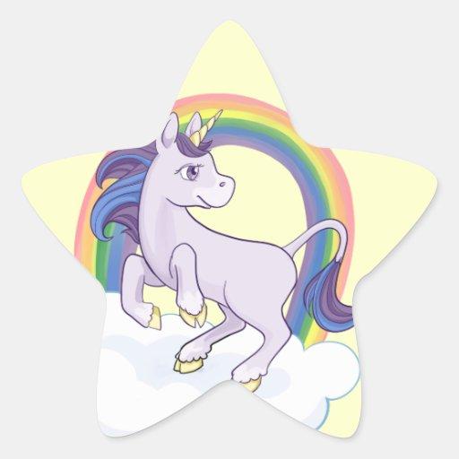 Licorne magique mignonne d'arc-en-ciel autocollant en étoile