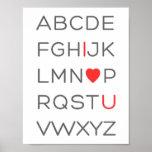 Liebe ABC-Alphabet-I Sie Poster