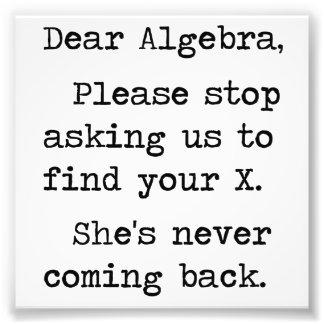 Liebe Algebra stoppt bitte, uns zu fragen, um Ihr  Kunst Fotos