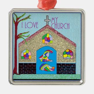 Liebe ASL I meine Kirche Quadratisches Silberfarbenes Ornament