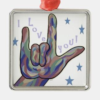 Liebe ASL I Sie Denim-und Tarnungs-Farben Quadratisches Silberfarbenes Ornament