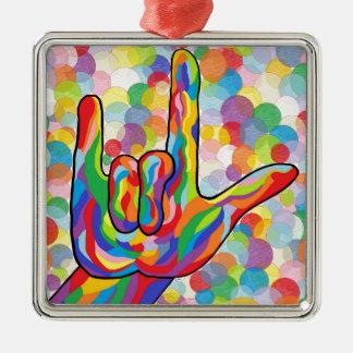 Liebe ASL I Sie mit Blasen-Hintergrund Quadratisches Silberfarbenes Ornament