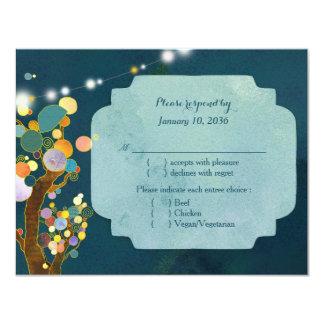 Liebe-Bäume in aquamarinem Hochzeit UAWG 10,8 X 14 Cm Einladungskarte