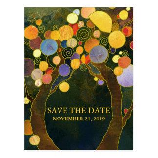 Liebe-Bäume rustikales Wedding Save the Date Postkarte
