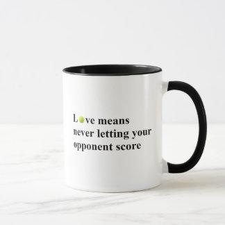 Liebe bedeutet Tennis-Tasse Tasse