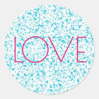 Liebe-blaue dalmatinische Druck-Aufkleber Runder Aufkleber