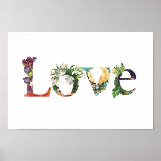 Liebe - BlumenLiebe-Zeichen-Plakat Poster