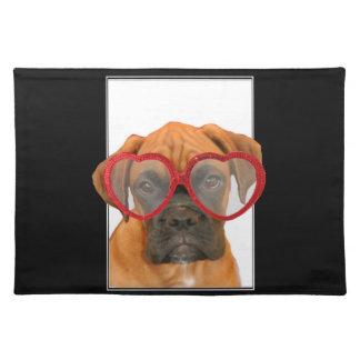 Liebe-Boxer-Hund Stofftischset