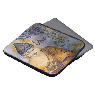 Liebe-Buddhawatercolor-Laptop-Hülse Laptop Sleeve