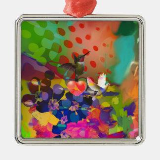 Liebe der Natur mit Mehrfarbenhintergrund Quadratisches Silberfarbenes Ornament