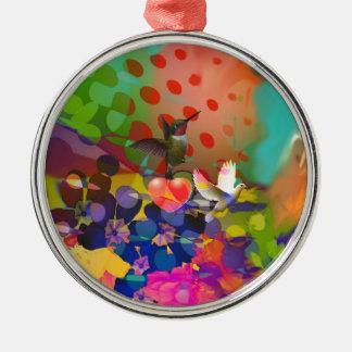 Liebe der Natur mit Mehrfarbenhintergrund Rundes Silberfarbenes Ornament