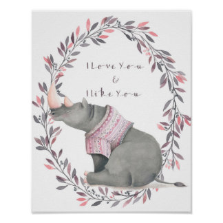 Liebe des Nashorns I Sie Plakat
