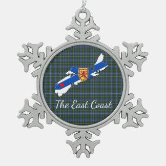 Liebe die Ostküsten-Herz N.S Tartan-Baumverzierung Schneeflocken Zinn-Ornament