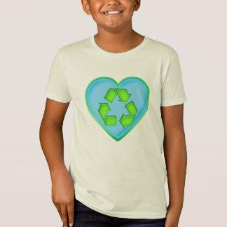 Liebe, die Ozean-Herz recycelt T-Shirt