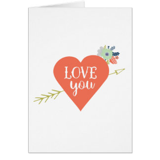 Liebe, die Sie mit orange Herzen und Blumen Karte