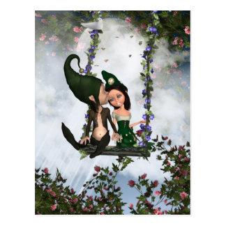 Liebe-Elf-Postkarte, niedliches Paar liebevolle Postkarte