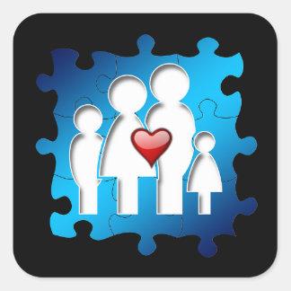 Liebe-Familien-Quadrat-Aufkleber Quadratischer Aufkleber