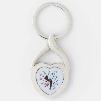 Liebe-Fee-verdrehtes Herz Keychain Silberfarbener Herz Schlüsselanhänger