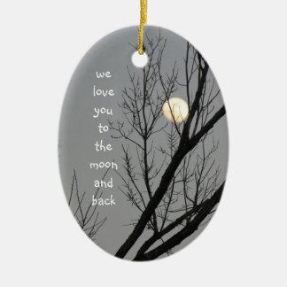 Liebe fertigen Sie zum Mond u. zur Rückseite, Keramik Ornament