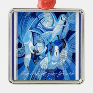 Liebe, Freude und Frieden am Weihnachten Quadratisches Silberfarbenes Ornament