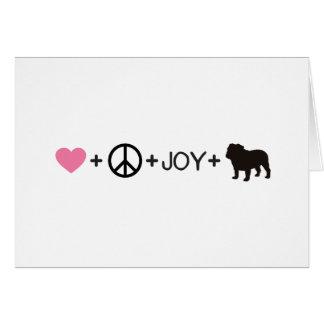 Liebe-Friedensfreude-Englisch-Bulldogge Karte