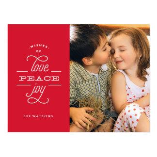Liebe-Friedensfreude-Weihnachtsfeiertags-Postkarte Postkarte