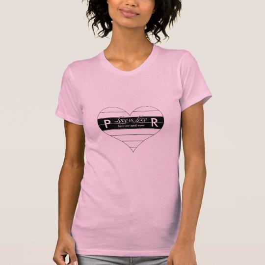 Liebe-für immer Herz-Monogramm-kundenspezifische T-Shirt