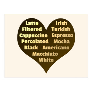 Liebe für Kaffee-Postkarte Postkarte