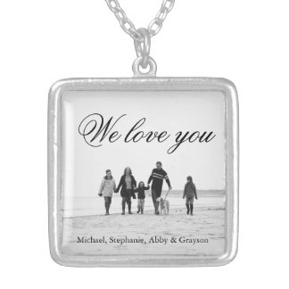 Liebe für Mamma-Familien-Foto-Halskette Halskette Mit Quadratischem Anhänger