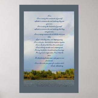 Liebe-Gedicht mit Regenbogen-Foto-Plakat Poster
