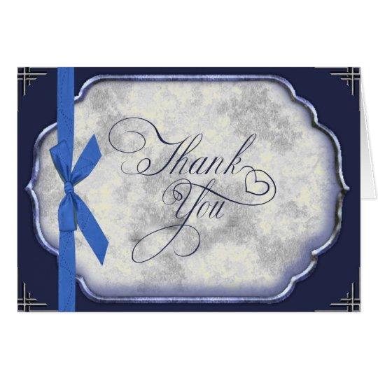 Liebe-Geschichten-blaue Hochzeit danken Ihnen Mitteilungskarte