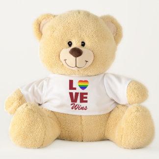 Liebe gewinnt Gay Pride-Regenbogen-Flaggen-Herz