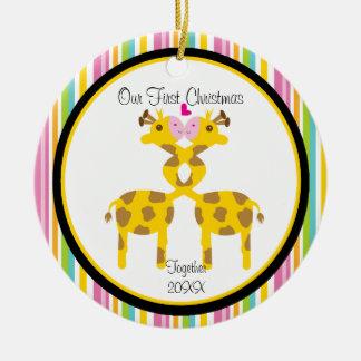 Liebe-Giraffen-Paar-Weihnachtsverzierung Keramik Ornament