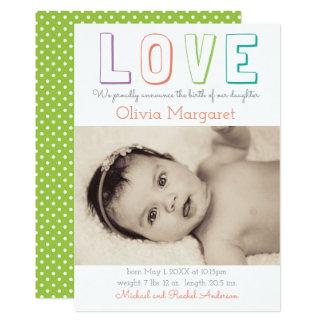 LIEBE grüne Pastellpunkte - Geburts-Mitteilung 12,7 X 17,8 Cm Einladungskarte