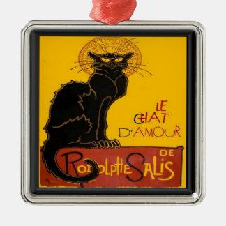 Liebe-Gruß Le Chat D'Amour Silbernes Ornament
